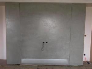 電視牆與主牆面施做-水泥本色
