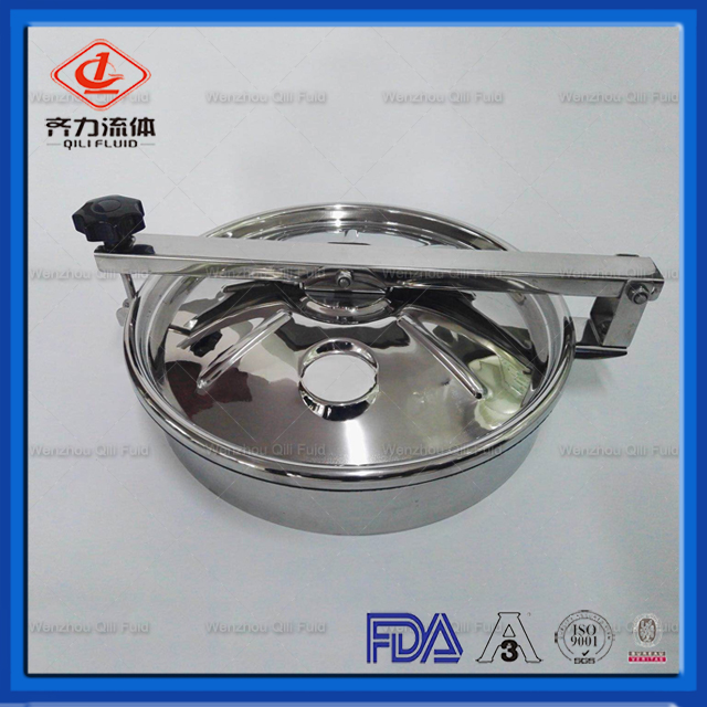 Sanitary Round Manhole cover side-swing opening and back-side opening