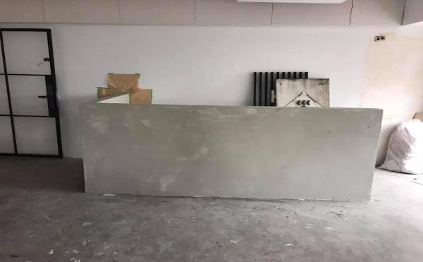 卡多泥壁材塗裝(水泥本色)~櫃台施做過程