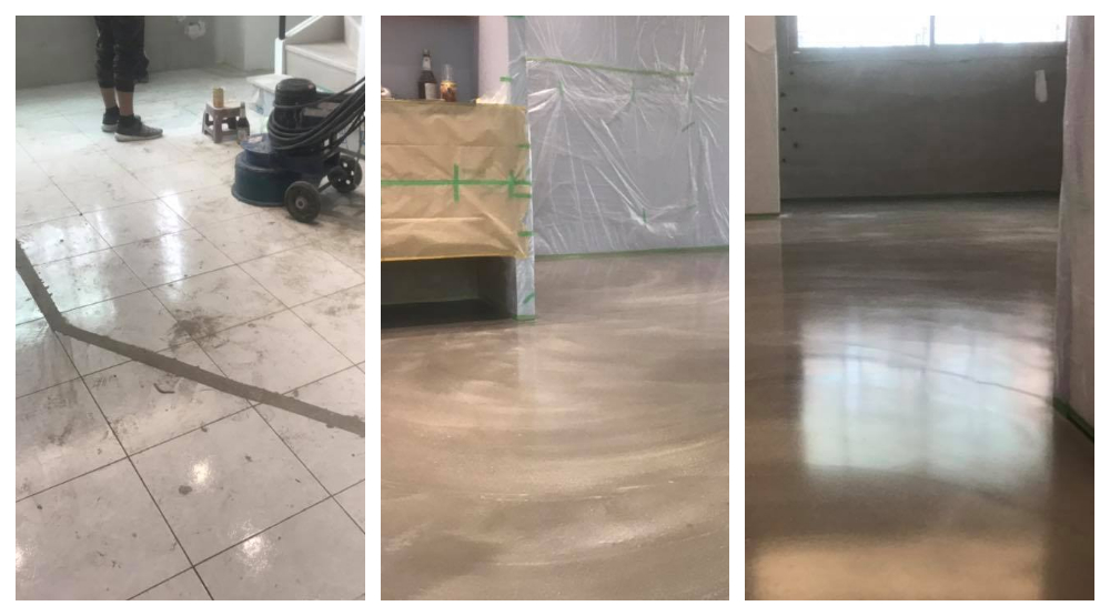 卡多泥創意地坪 - 005混色拉花地坪,瓷磚面施作效果