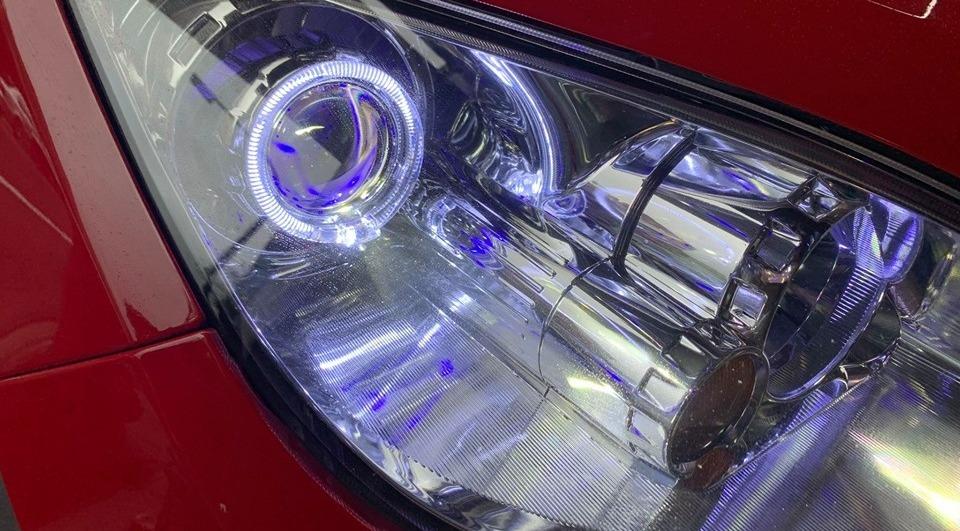 滷素燈更換合法LED魚眼一體式+BMW光圈