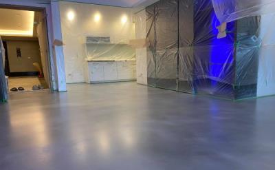 液態珠光創意地坪(銀白灰色)居家空間效果