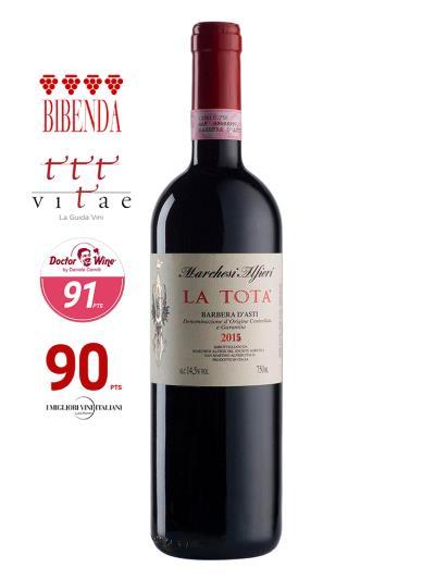 2015 義大利紅酒 Barbera D'Asti LA TOTA (義大利知名酒評期刊 Bibenda《意味美酒》 4串葡萄)