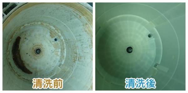 圖二:洗衣機清洗前(左),洗衣機清洗後(右)