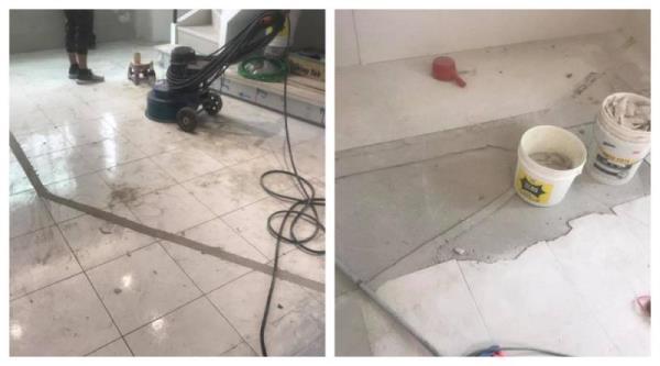 地坪施作前瓷磚前置打磨作業